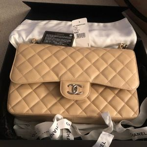 Chanel Double Flap Grained Calfskin Classic Bag